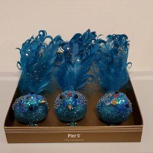 Pier1 Clip Ornaments Blue Glitter Beaded Birds NWT